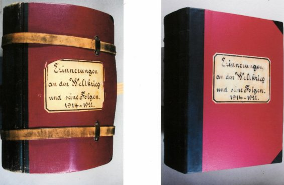 The BiG's heaviest book: 'Erinnerungen an den Weltkrieg und seine Folgen, 1914-1922 ('Memories of the World War and its effects, 1914-1922', in German only). Pictured left is a deformed and damaged book; pictured right is the book in its restored state.