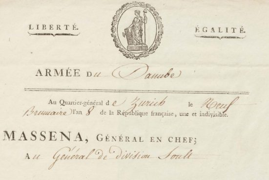 In his letter dated 31 October 1799, Général en Chef Masséna congratulates Général de Division Jean de Dieu Soult in the name of the French Directorate for his successful military campaign. Ornate letterhead with the heading 'Armée du Danube'.
